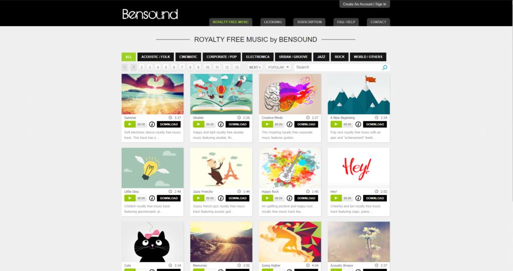 Strona z darmową muzyką Bensound