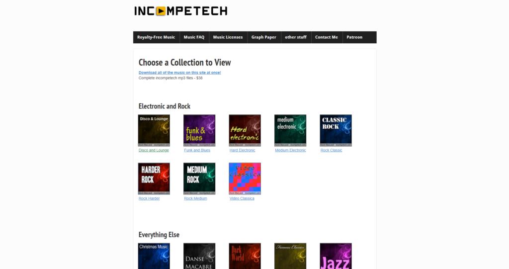 Strona z darmową muzyką Incompetech