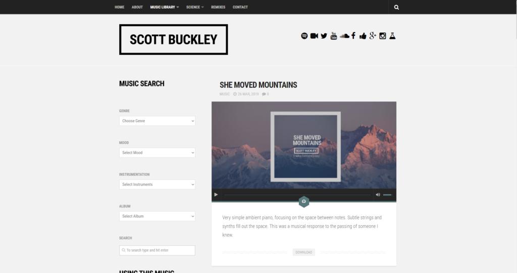 Strona z darmową muzyką Scott Buckley