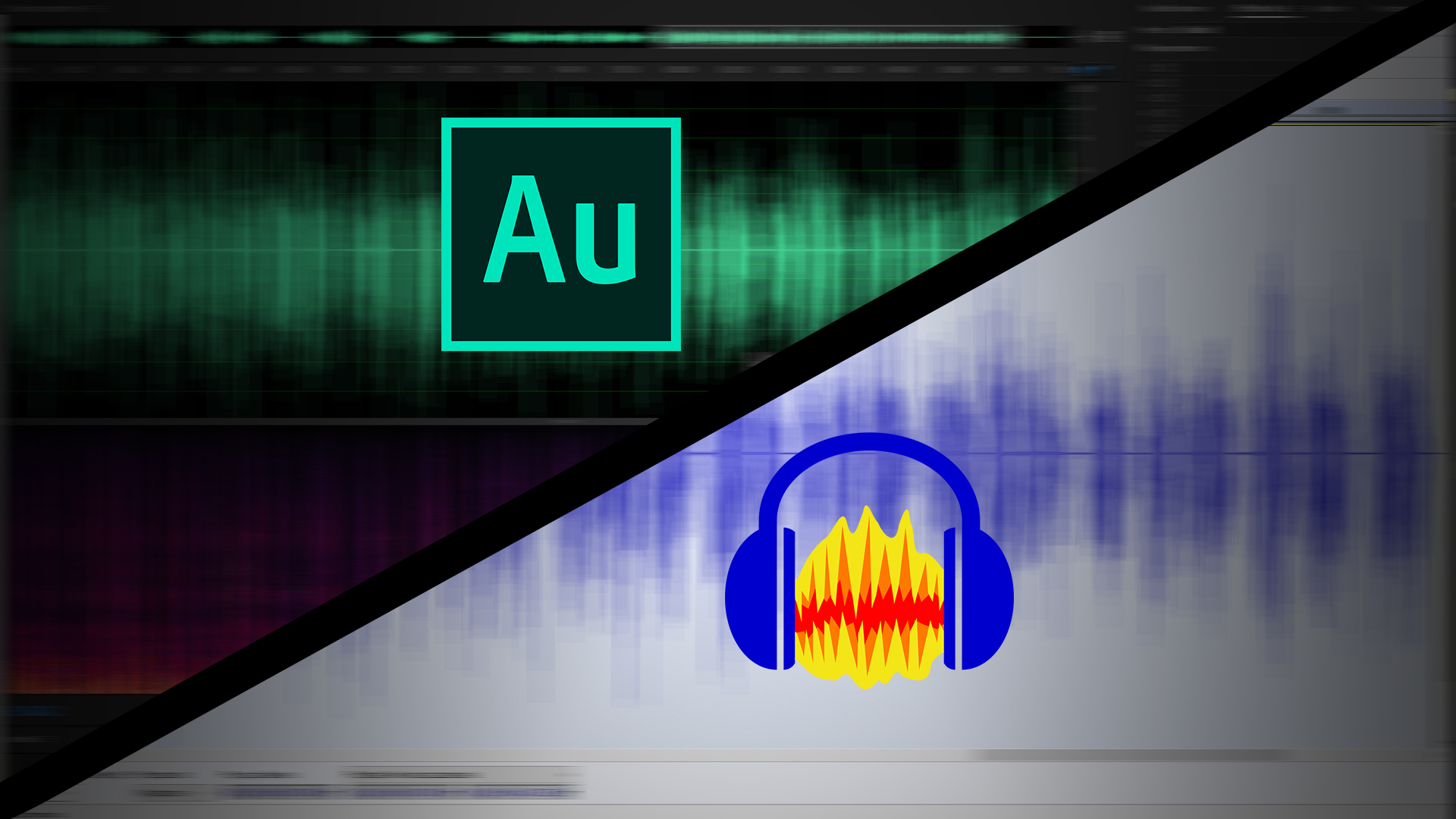 Zdjęcie przedstawia dwa programy do obróbki audio